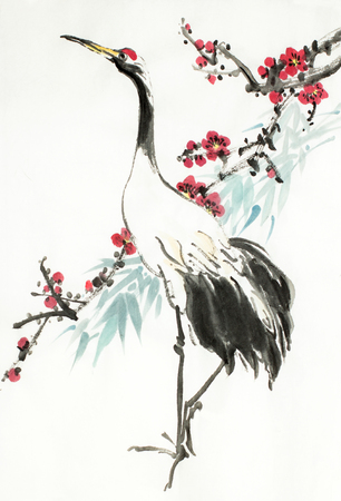 Photo for crane and flowering plum branch on a light background - Royalty Free Image