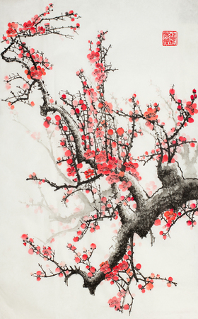 Photo for plum blossoms on a light background - Royalty Free Image