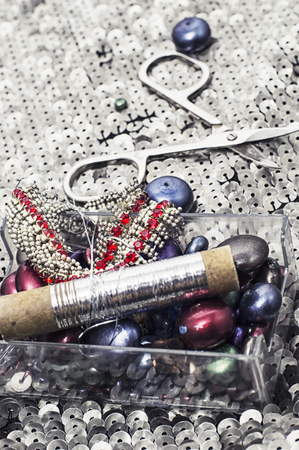 handmade and instruments of repairman clothing  and thread