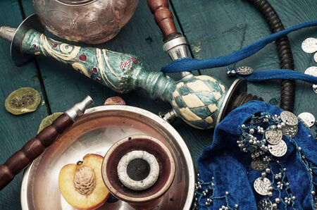 composition with shisha and accessories