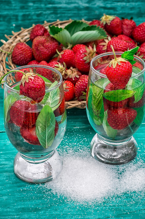 glass with drink of strawberries