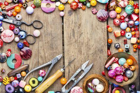 Foto de Assortment beads for making women's jewelry.Bright colored beads - Imagen libre de derechos