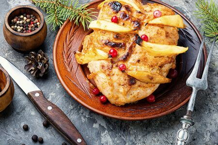 Photo pour Grilled chicken breast with mango.Christmas baked chicken.Fried chicken fillet - image libre de droit