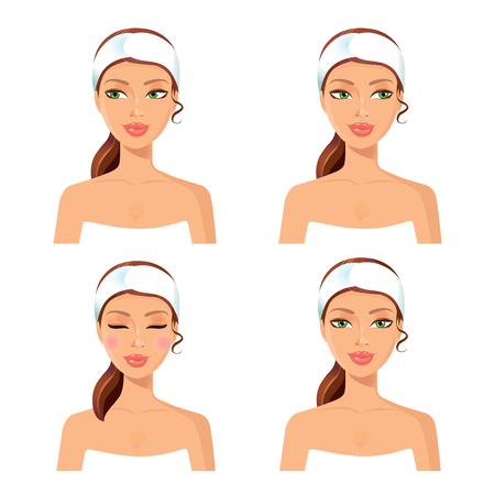Spa set of 4 women with in different face: looking left and right, closing her eyes, girl relaxing. Graphic design element for spa or beauty salon poster. Vector.Face spa concept. Spa icon.