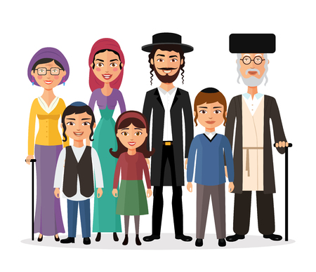 Illustration for Happy jewish family together cartoon concept vector illustration isolated on white - Royalty Free Image
