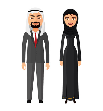 Illustration pour Arab couple man and woman together in traditional national clothes dress costume vector isolated - image libre de droit