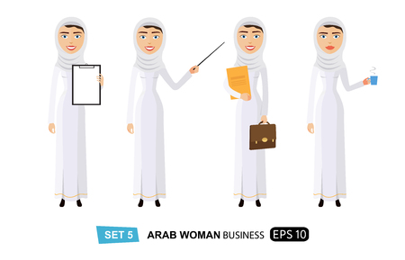 arab woman presenting something get an idea isolated on white flat vector cartoon