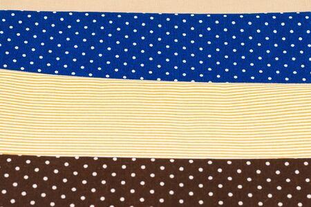 Photo pour Mix of beige, white and brown cotton fabric. Top view. - image libre de droit