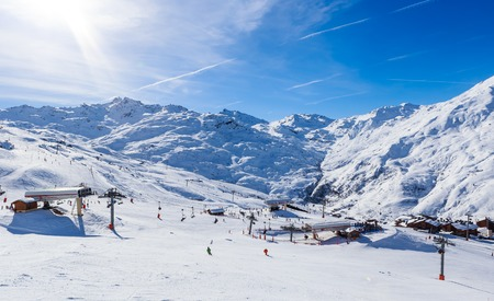 Valley view of Val Thorens. Village of Les Menuires.  Lower  lift stations. France