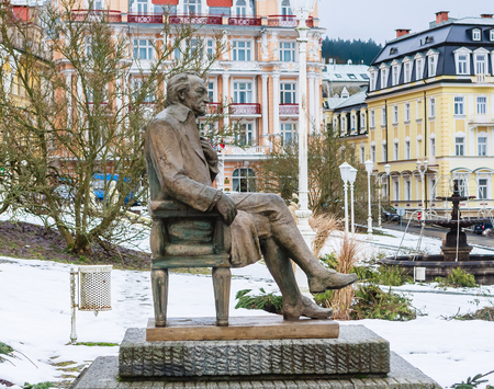 Photo for Johann Wolfgang Goethe statue, spa Marianske lazne, Czech republic - Royalty Free Image