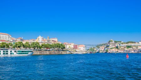 View buildings in Ribeira District and Bishop's Palace in Porto on Iberian Peninsula