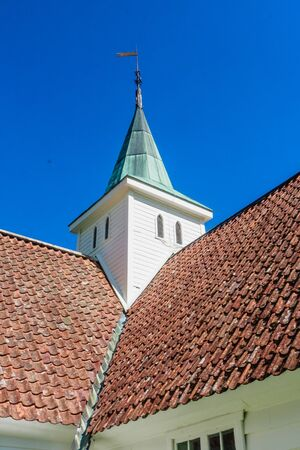 Photo pour Norway, Sogn of Fjordane county. Fragment of White wooden church in Olden - image libre de droit