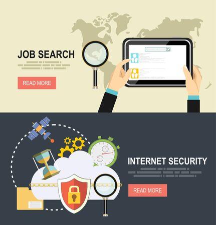 Illustration pour Security and Cloud Technology Concept.job searching. - image libre de droit
