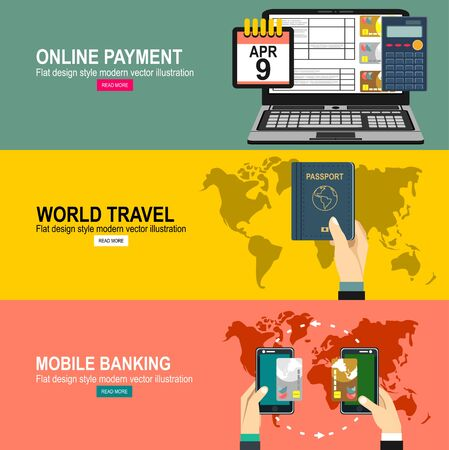 Illustration for Vector moE Payment. Near Field Communication Technology. Business Concept Illustrationdern flat design web icon and travel with airliner flying, and globe with clouds. - Royalty Free Image