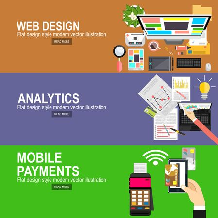 Illustration for Flat designed banners for graphic design and web design.Mobile payments.Transaction and paypass and NFC. Vector illustration.Analytics Information and Development Website Statistic. - Royalty Free Image