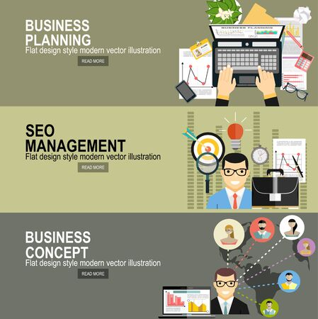 Illustration pour business analytic graph report. business investment planning. Flat design modern vector illustration concept of project management. For web banners, printed and promotional materials - image libre de droit