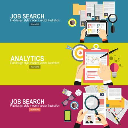 Illustration pour Concept of job searching.business analytic graph report. business investment planning - image libre de droit