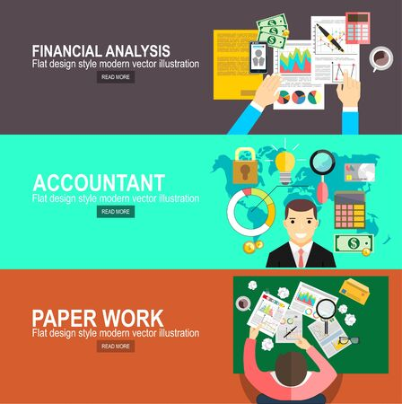 Illustration pour Financial calculations. Working process. Hard work, businessman accounting at the office, vector illustration.Accountant, businessman. Set icons flat design. Concept of accounting and calculation. - image libre de droit