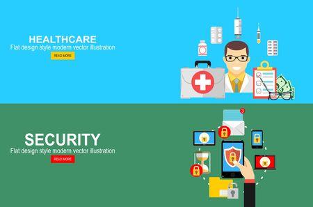 Illustration pour Health insurance, life insurance calculation concept. Mobile security, data protection concept. Hand holding smartphone, shield lock icon. - image libre de droit