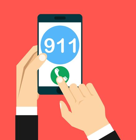 Illustration pour Call 911, emergency call concept. Hand holding smartphone, finger touching call button. Modern flat design vector illustration - image libre de droit
