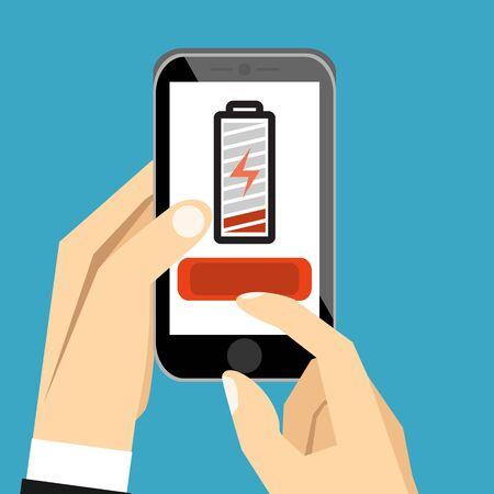 Ilustración de Hand holding smartphone with low battery on the screen. Flat cartoon style. Vector illustration. - Imagen libre de derechos