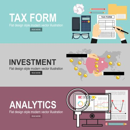 Illustration for Man hands filling tax form. Analytics Information and Development Website Statistic. Investment hand hold money coin for website and promotion banners. - Royalty Free Image