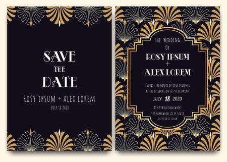 Illustration pour An Art Deco Wedding Card with a Gold-patterned Background. - image libre de droit
