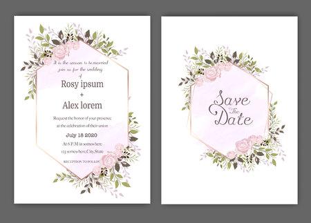 Illustration pour Wedding invite, invitation, save the date card design with elegant lavender  garden  anemone. - image libre de droit