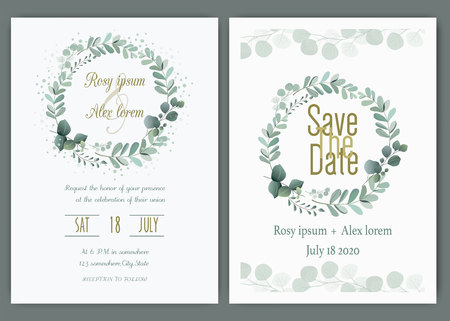 Illustration pour Wedding invitation card Floral hand drawn frame .Greenery Wedding Invitation ,Template Eucalyptus  Wedding Invitation. - image libre de droit