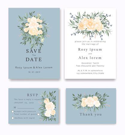 Illustration pour Wedding Invitations save the date card design with elegant garden anemone. - image libre de droit