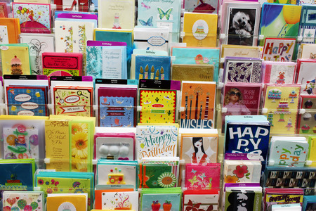Greeting cards in a store