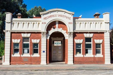 Rushworth, Australia - March 12, 2018: The Rushworth Mechanics Institute opened in 1913 and since 1969 has been home to the Rushworth Museum.