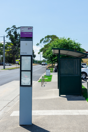 Fish Creek, Australia - January 28, 2018: Bus stop in Fish Creek in South Gippsland. VLine coaches connect Fish Creek with Melbourne and Yarram.