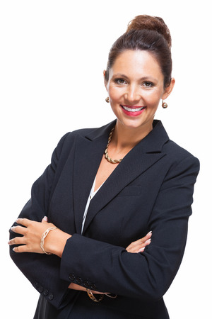 Portrait of a Confident Young Businesswoman in Black Suit, Smiling at the Camera with Arms Crossing Over her Stomach, Isolated on White Background