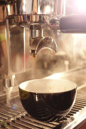 Photo pour close up of coffee machine preparing cup of coffee - image libre de droit