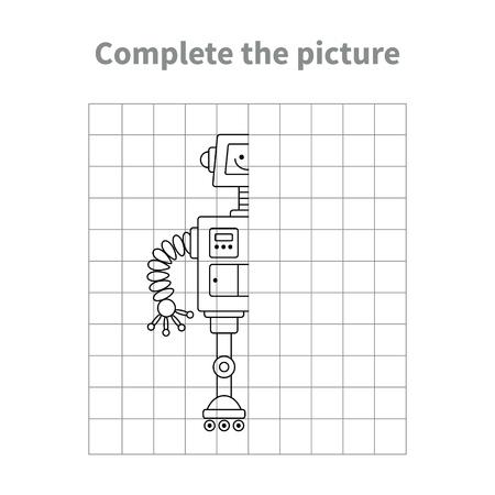 Illustration pour Complete the picture of robot.Coloring page.Children educational game. - image libre de droit