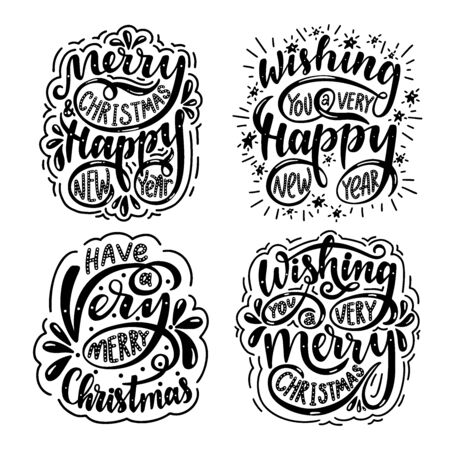 Illustration pour Lettering set. Merry christmas & happy new year. Wishing you a very merry christmas. Wishing you a very happy new year. - image libre de droit