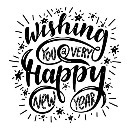 Photo pour Wishing you a very happy new year. Poster with hand drawn lettering.Vector illustration. - image libre de droit