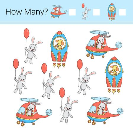 Illustration pour How many? Vector illustration of counting game. - image libre de droit