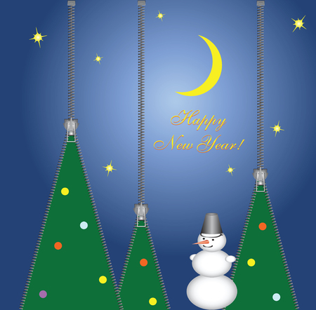 New Year card from clothes zippers. Vector illustration. Happy New Year!