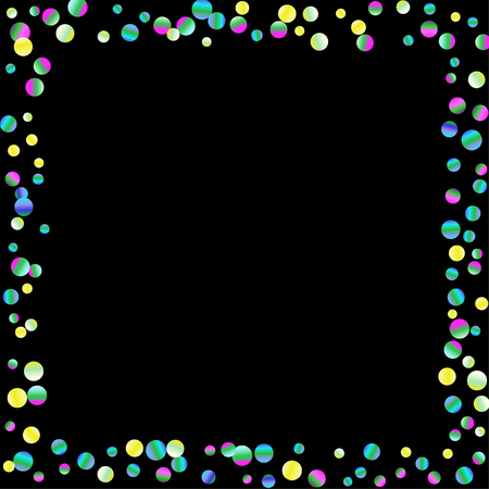 Ilustración de Colored confetti-points are scattered on a black background. Luxury festive background. Multicolored shiny abstract texture. Element of design. Vector illustration, EPS 10. - Imagen libre de derechos