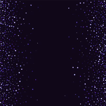 Ilustración de Lilac shine of confetti on a dark background. Luxury festive background. A grainy abstract texture sparkles on a purple background. Element of design. Vector illustration, EPS 10. - Imagen libre de derechos