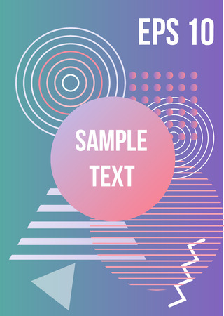 Illustration for Minimum geometric coverage. Modern abstract cover from elements of style bauhaus, memphis and hipster. Modern design of posters, presentations and banners. Vector illustration. - Royalty Free Image