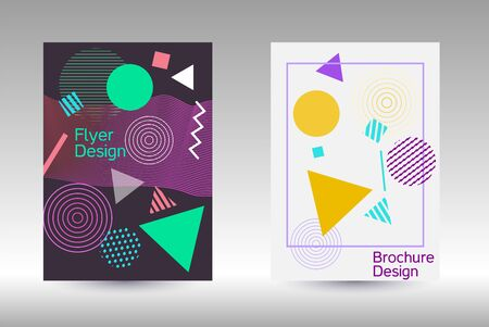Illustration pour Modern design template. Modern Memphis background. Artistic geometric cover design. Fashionable  cover, banner, poster, booklet. Creative colors backgrounds. - image libre de droit