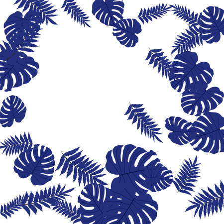 Illustration pour Vector tropical pattern, bright tropical foliage, monstera leaves. Modern bright summer print design of thickets of tropical leaves from the jungle. - image libre de droit