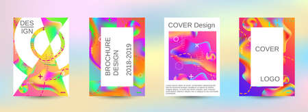 Illustration pour Modern abstract background. A set of modern abstract covers. Blurred bright colors mesh background. Smooth banner template. - image libre de droit