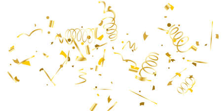 Illustration for Golden glitter confetti on a white background. Illustration of a drop of shiny particles. Decorative element. Luxury background for your design, cards, invitations, gift, vip. - Royalty Free Image