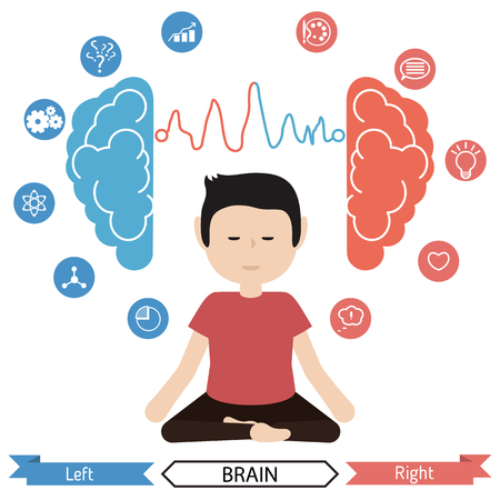 Left and right brain functions concept, analytical and creativity. Benefits of meditation.