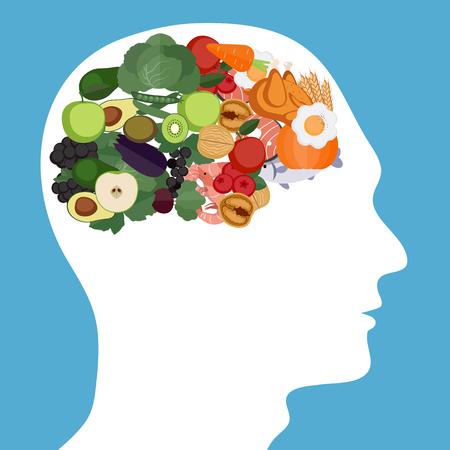 Ilustración de Concept of food helpful for healthy brain - Imagen libre de derechos