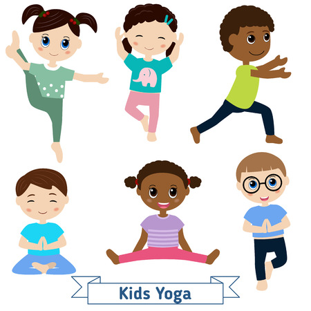 Illustration pour Children doing yoga in different positions - image libre de droit